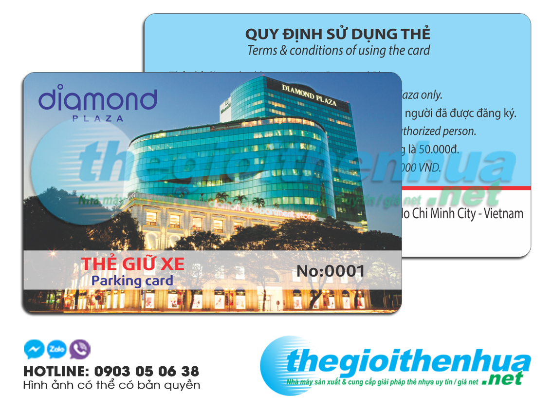 In thẻ giữ xe cho Diamond Plaza