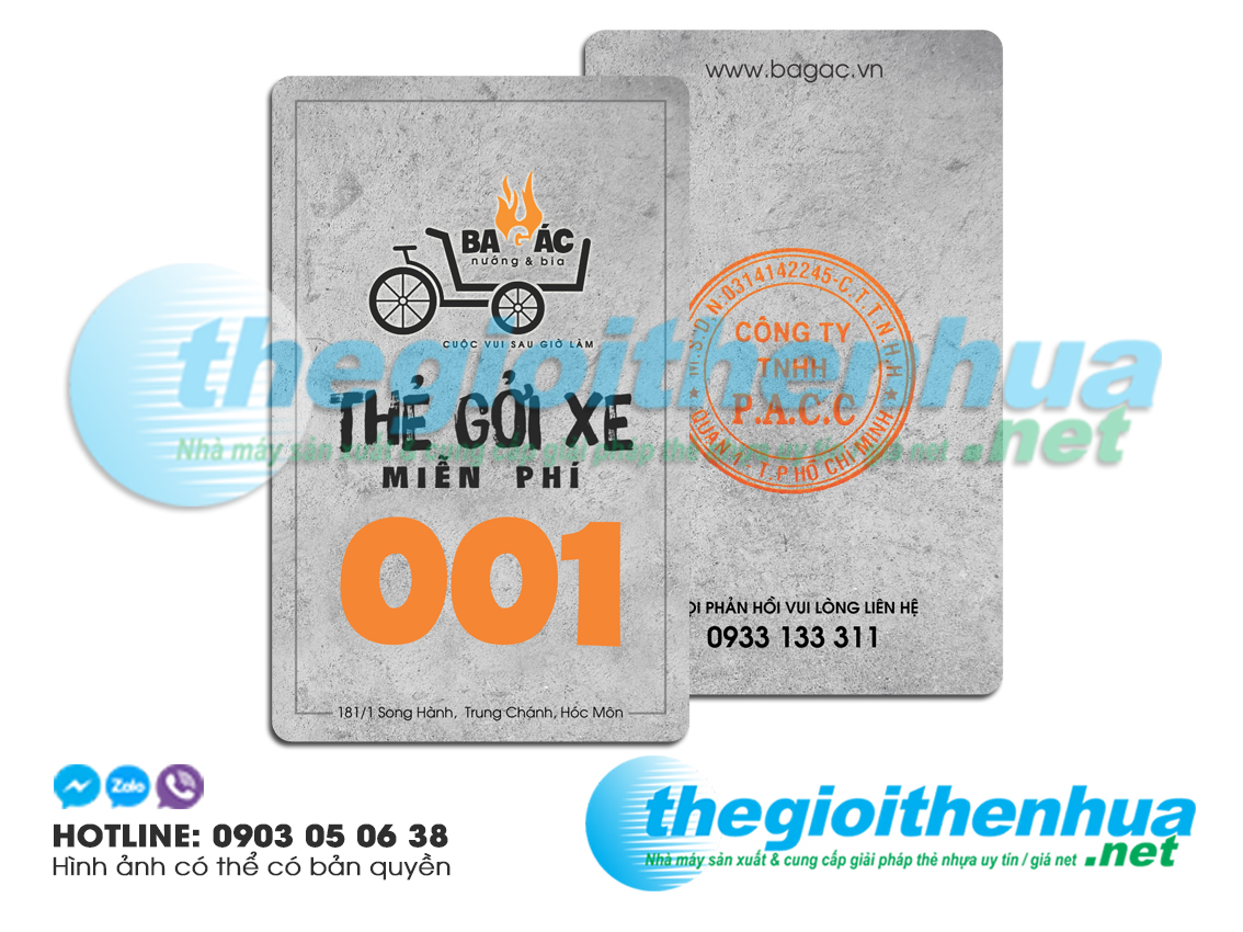 In thẻ giữ xe cho Ba Gác