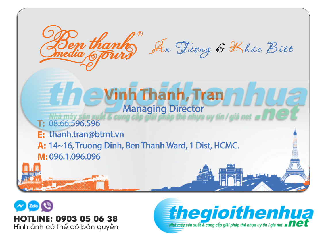 In name card cho Ben Thanh Media Tour