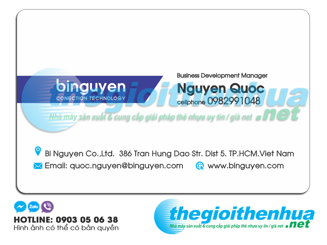 In thẻ trong suốt cho binguyen conection technology