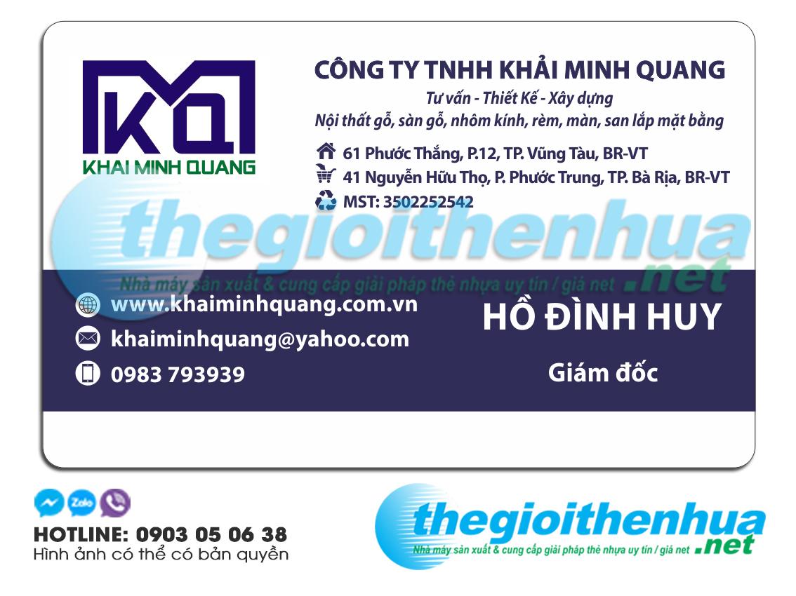 In name card giám đốc công ty Khải Minh Quang