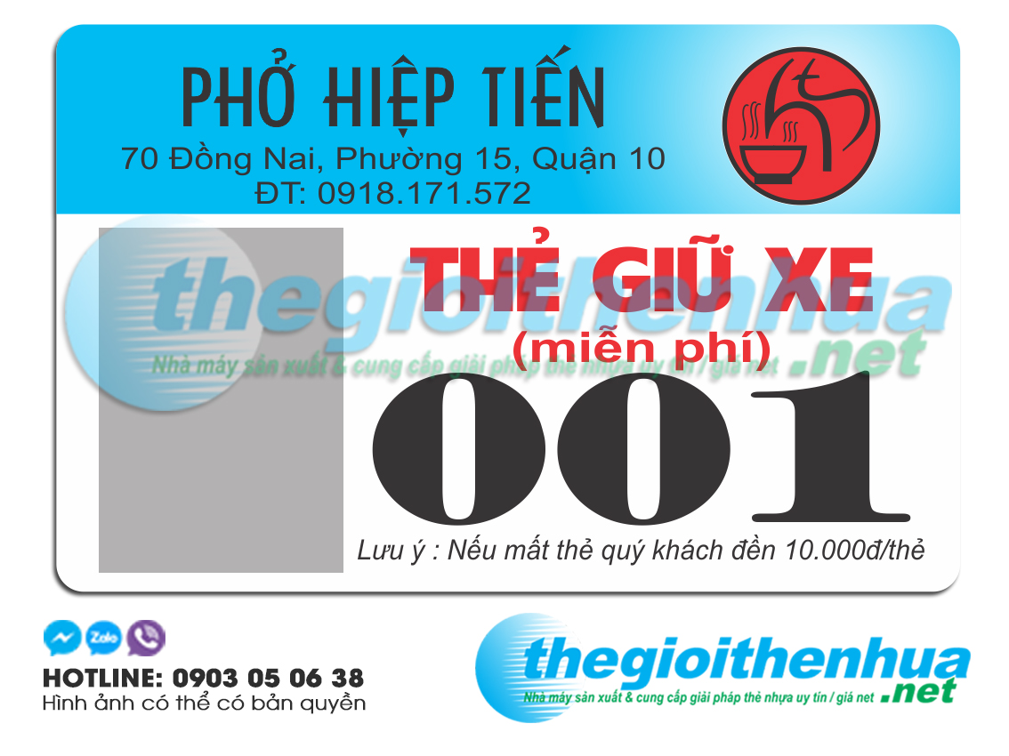 In thẻ giữ xe cho Phở Hiệp Tiến