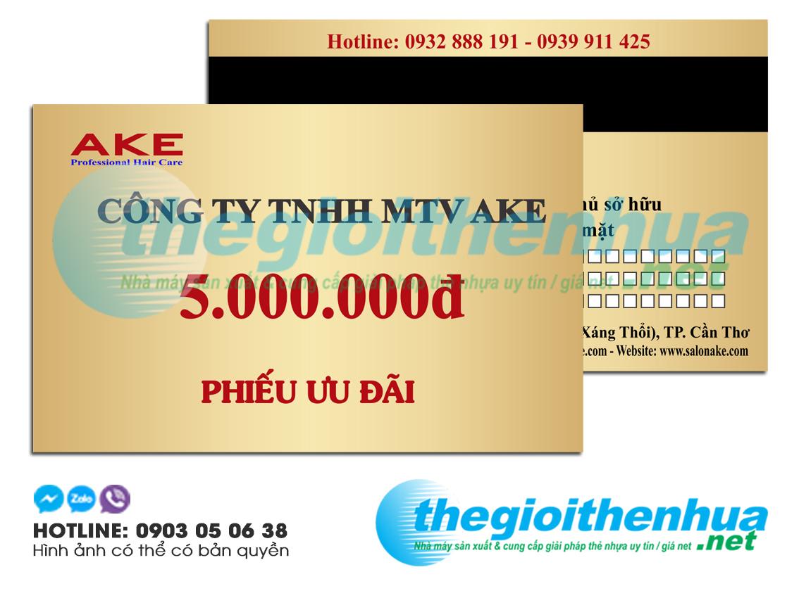 In thẻ ưu đãi cho công ty TNHH MTV AKE