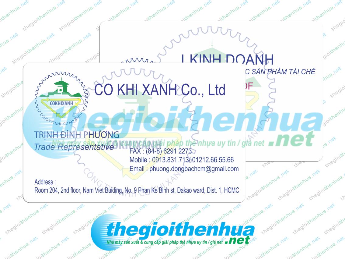 In member card cho công ty TNHH Cơ Khí Xanh