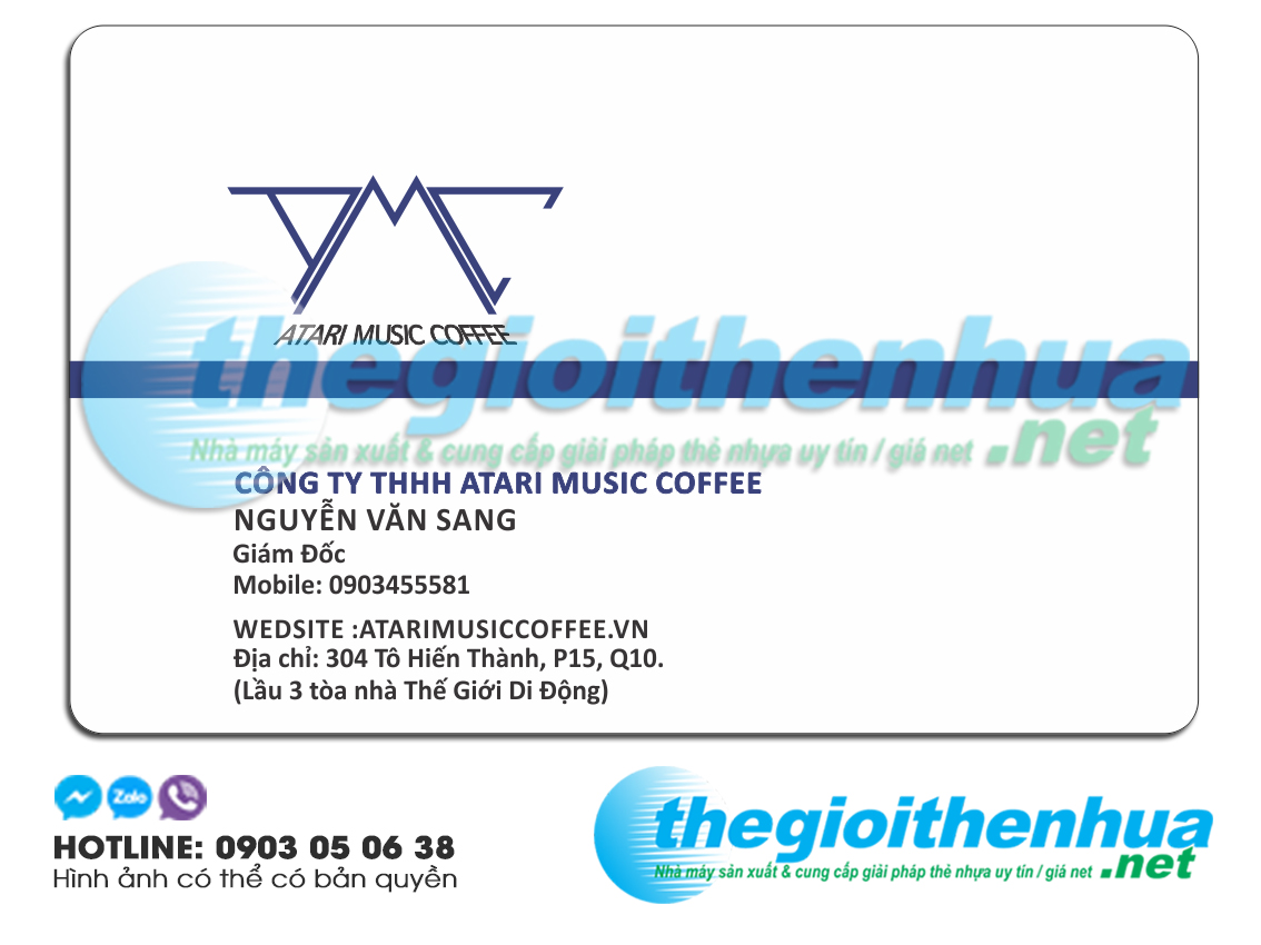 In name card trong suot cho Atari music Coffee