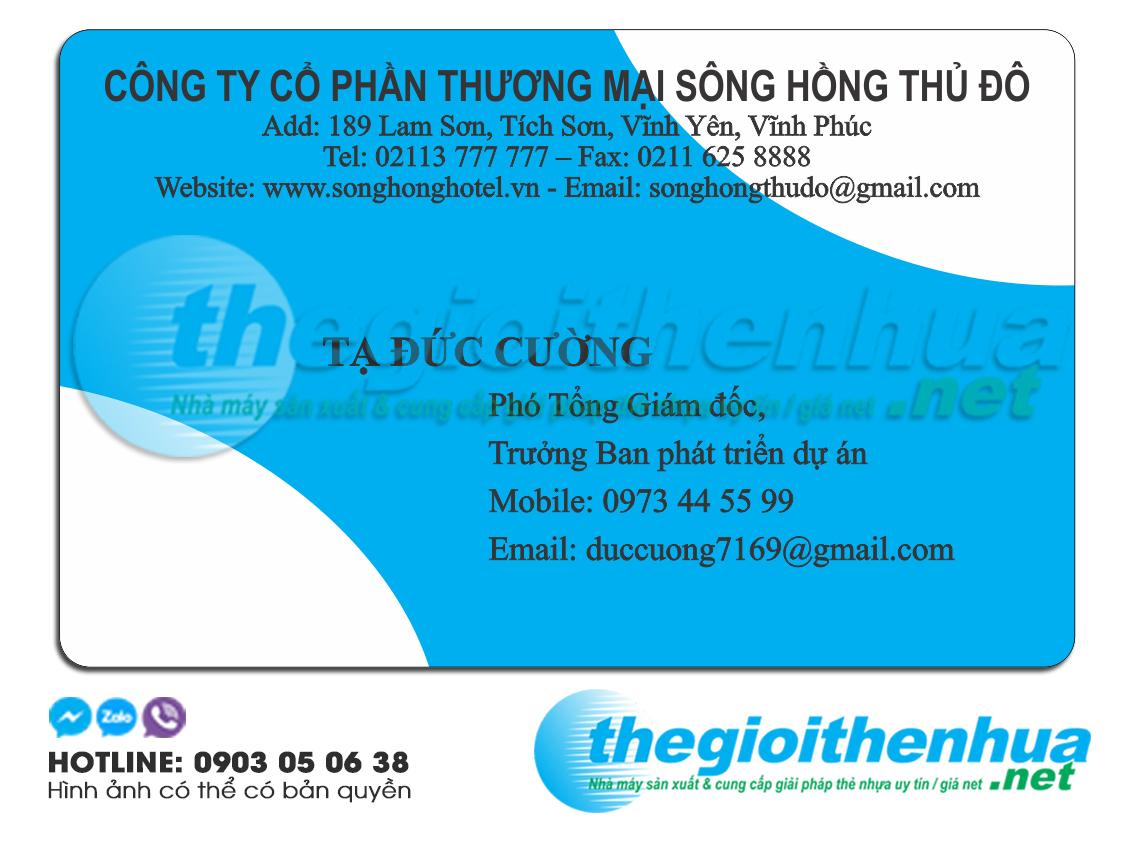 In name card nhựa trong suốt cho công ty cổ phần TM Sông Hồng Thủ Đô