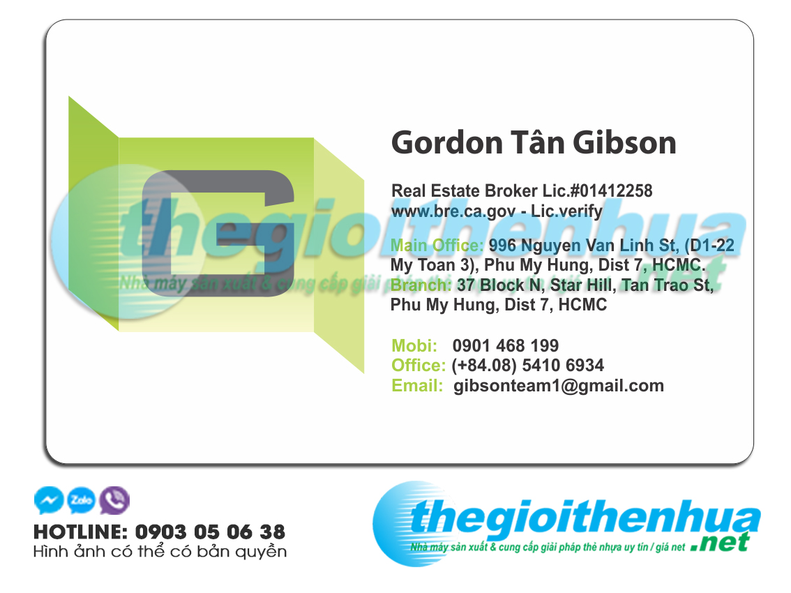 In name card cho công ty Gordon