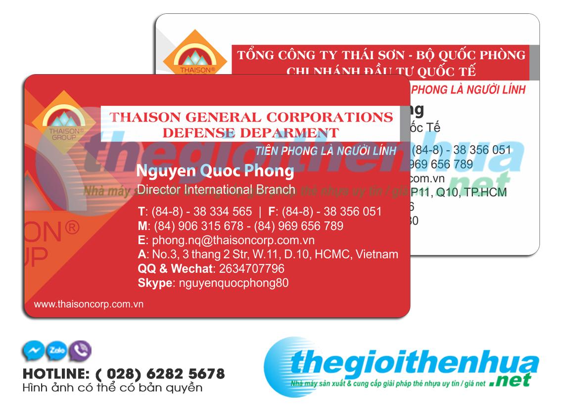 In name card nhựa cho công ty Thái Sơn Group