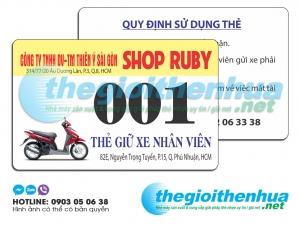 In thẻ giữ xe cho công ty Shop Ruby