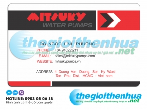In name card trong suốt cho Misuky Water Pumps