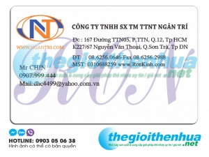 In thẻ trong suốt cho công ty TNHH SX TM TTNT Ngân Trí