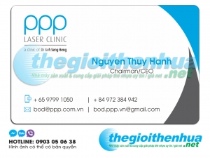 In name card trong suốt cho PPP Laser Clinic
