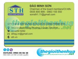 In name card cho công ty TNHH xây dựng sửa chữa công trình STH