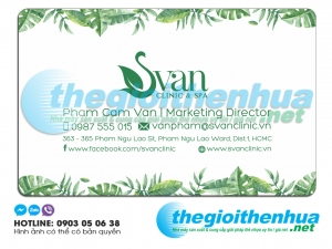 In name card trong suốt cho Svan Clinic & Spa