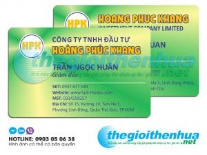 In name card nhựa cho công ty TNHH Đầu Tư Hoàng Phúc Khang