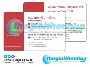 In name card nhựa cho công ty TNHH MTV Gỗ Hoàng Thông