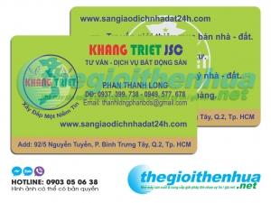 In name card nhựa cho công ty Khang Triet JSC
