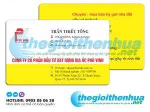 In name card nhựa cho công ty cổ phần đầu tư xây dựng địa ốc Phú Vinh