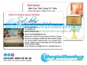 In name card nhựa cho công ty cổ phần trang trí mềm Soft Decor